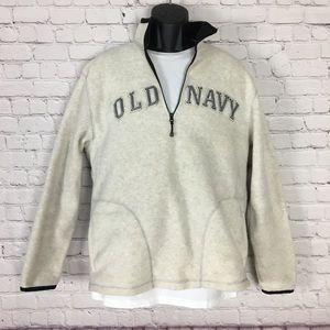 Old Navy Mens White Quater Zip Sweatshirt Size. M